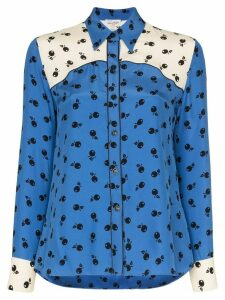 HVN Kate fruit-print silk shirt - Blue
