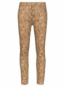 FRAME high-rise snake-effect jeans - Brown
