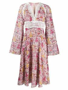 Giamba long-sleeve flared dress - PINK