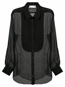 Fleur Du Mal pleated bib sheer shirt - Black
