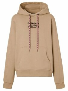 Burberry embroidered logo oversized hoodie - Brown