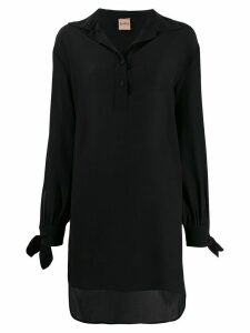 Nude oversized long-sleeve blouse - Black