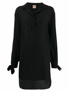 Nude oversized long-sleeve blouse - Black