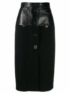 Christopher Kane ribbed jersey leather skirt - Black