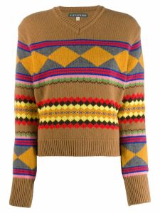 Alexa Chung geometric knit sweater - Brown