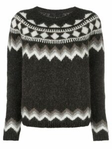 Nili Lotan geometric intarsia jumper - Brown