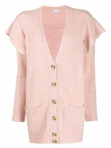 RedValentino ruffled buttoned cardigan - PINK