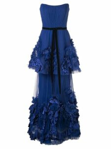 Marchesa Notte mixed-media texture tiered gown - Blue