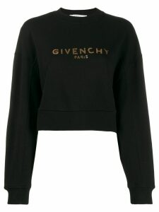 Givenchy logo print cropped sweatshirt - Black
