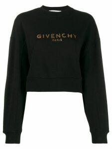 Givenchy logo print cropped sweatshirt - Black