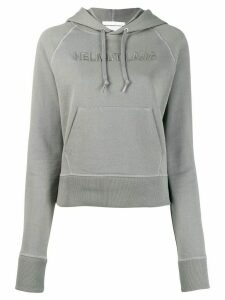 Helmut Lang logo embroidered hoodie - Grey