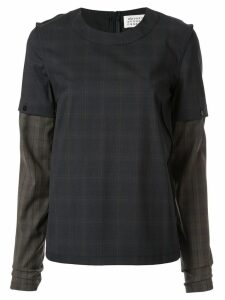 Maison Margiela check two-layer T-shirt - Blue