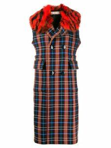 Marni sleeveless plaid coat - Red
