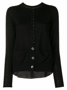 Sacai cupro insert cardigan - Black