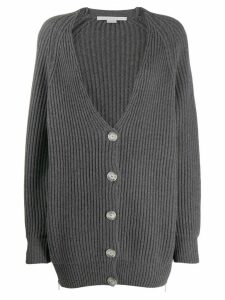 Stella McCartney V-neck cable knit ribbed cardigan - Grey