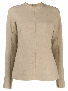 Jil Sander stitched grid jumper - NEUTRALS