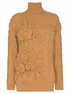 Simone Rocha patchwork cable-knit jumper - NEUTRALS