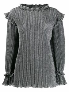 Alberta Ferretti metallic knit ruffled sweater - Grey