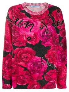 Blumarine rose print jumper - Black