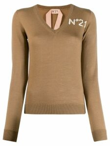 Nº21 V-neck knitted sweater - Brown