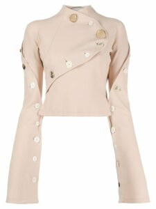 A.W.A.K.E. Mode Unbutton Me Seagull blouse - NEUTRALS