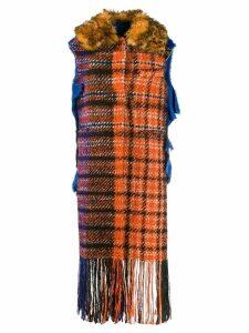 Marni sleeveless plaid fringe coat - ORANGE
