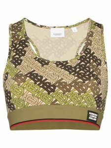 Burberry monogram print cropped tank top - Green