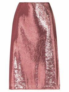 HVN Wiona sequin-embellished skirt - PINK