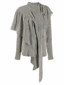 Petar Petrov houndstooth print ruffled blouse - Black