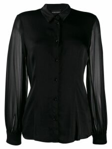Emporio Armani sheer sleeved shirt - Black