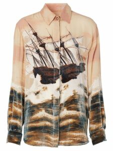 Burberry Ship Print Devoré Silk Blend Oversized Shirt - NEUTRALS