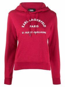 Karl Lagerfeld printed logo hoodie - Red