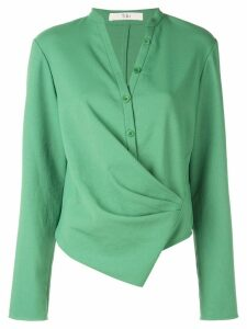 Tibi Chalky drape draped blouse - Green