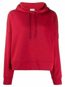 Moncler logo drawstrings hoodie - Red