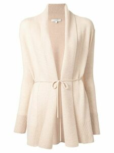 Vince rib-trim open cardigan - Brown