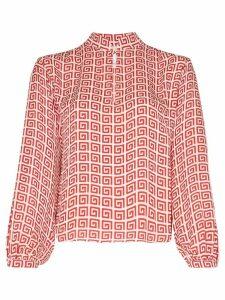 Rebecca De Ravenel spiral-print peasant blouse - Red white combo