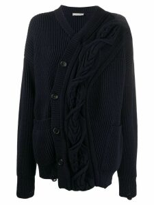 Nina Ricci asymmetric ribbed cardigan - Blue