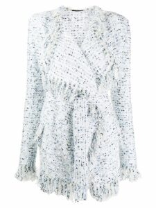 Balmain tweed fringed cardigan - White