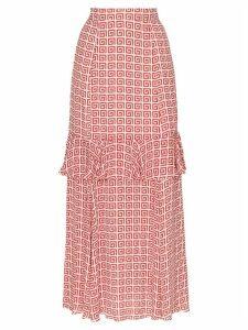 Rebecca De Ravenel spiral-print maxi skirt - Red