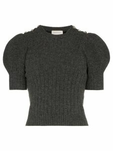 Alexander McQueen puffed-shoulder knitted top - Grey