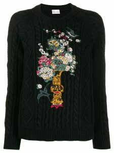 Red Valentino RED(V) floral embroidered knitted sweater - Black