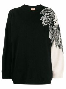 Nude embroidered detail jumper - Black