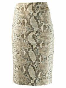Cavalli Class snakeskin print pencil skirt - Brown