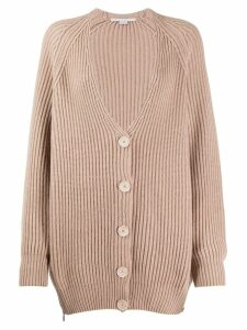 Stella McCartney V-neck cable knit ribbed cardigan - Neutrals
