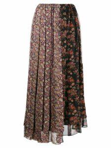 Junya Watanabe patched floral print skirt - Black