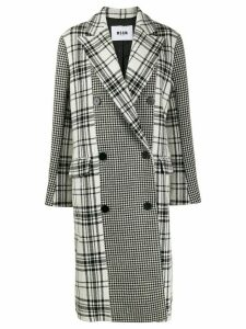 MSGM check and houndstooth peacoat - Black