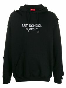 Art School logo print distressed hoodie - Black