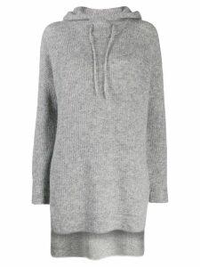GANNI drawstring knitted hoodie - Grey