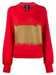 Cavalli Class bead-embellished sweatshirt - Red