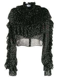 Magda Butrym silk polka dot ruffled blouse - Black
